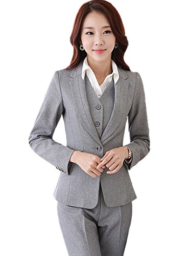 URUOI Women's Two Piece Office Lady Blazer Business Professional Suit Set Gray XL