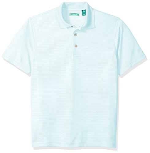 Cubavera Men's Short Sleeve Stripe Textured Performance Polo Shirt, Cool Blue, (Textured Stripe Shirt)