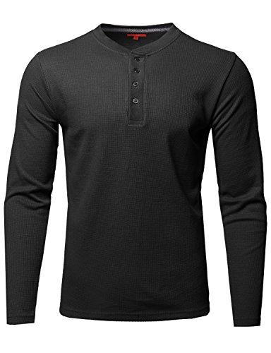 Mens Premium Quality Thermal Henley Long Sleeve T-Shirt