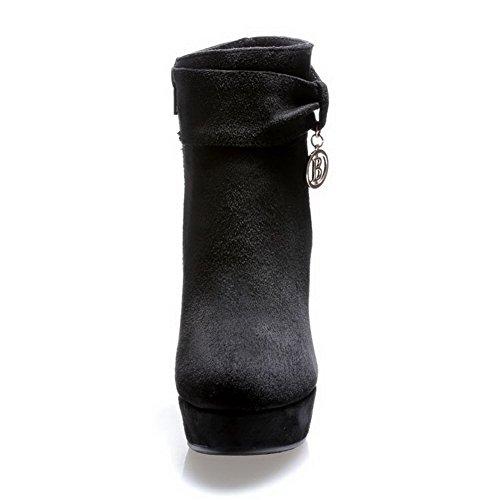 Amoonyfashion Dames Ronde Neus Gesloten Neus Spikes-stilettos Laarzen Met Glijdende Zool En Stiletto Schoenen Zwart
