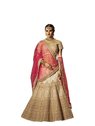 Ethnicwear Wedding Party Wear Cream Art Silk Zari Embroidery Sequence Stone Work Cultural Chaniya Choli