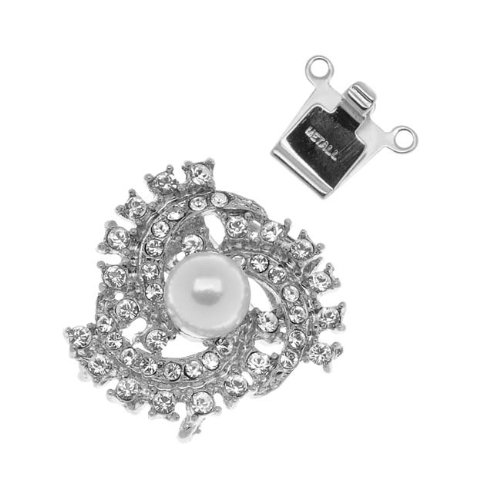 Rhodium Plated 3-Strand Box Clasp - Spiral Galaxy With Crystals And Pearl- 22mm -