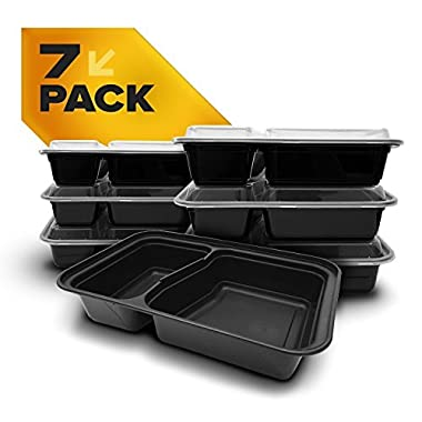 Fitpacker DUO 2 Compartment Meal Prep Containers - Reusable with Lids, Microwave and Dishwasher Safe, Bento Lunch Box, Stackable, Set of 7