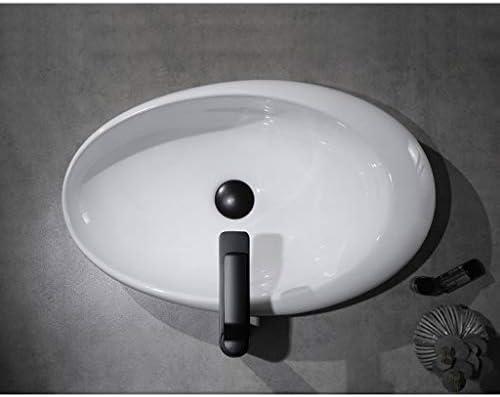Minmin 洗面台バルコニー洗濯プールバスルーム洗面590x370x140mmの洗面化粧台の家の装飾小さなアパートのセラミックシンプルなオーバル 芸術流域 (Color : A)