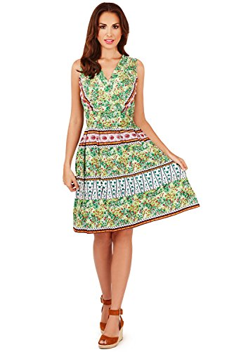 ti Floral Crossover Short Dress Green (D639) - Small ()