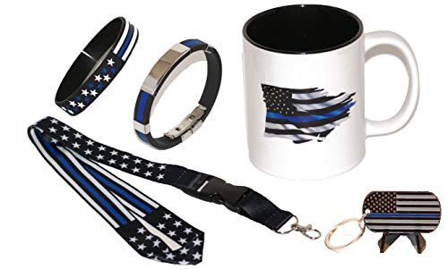 11.oz American Flag Thin Blue Line Coffee Cup w/Stars and Strips Lanyard/New Bracelet w/Chrome/Stars and Strips Wristband and Key Chain