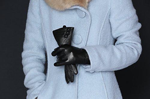 MoDA Women's Ms. Geneva Genuine Leather Fully Lined Texting Enabled Winter Gloves,Black,Medium
