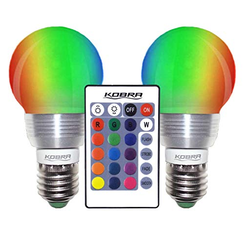 Kobra LED Color Changing Light Bulb with Remote Control - 16 Different Color Choices Smooth, Fade, Flash or Strobe Mode - Smart Remote Lightbulb - RGB & Multi Colored - - Classic Lighting Chrome Landscape