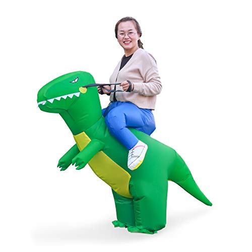 Linsion T-Rex Costume Inflatable Dinosaur Suit Halloween Dino Theme Party Dress Blow Up Costume Adult/Child (Adult Green) -