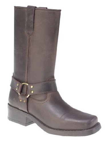 11 Pull Men's Leather Harness On Brown Cowboy Biker Boots 12 Inch Uk Dark Western Ukayed qx5ITT