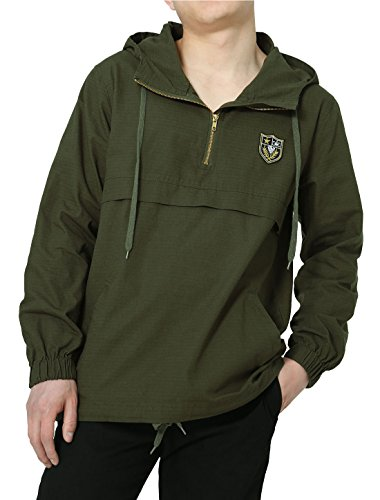 Wind Jacket Pullover College (Allegra K Men Lightweight Windbreaker Half Zip Hoodie Anorak Pullover Jacket Large Army Green)