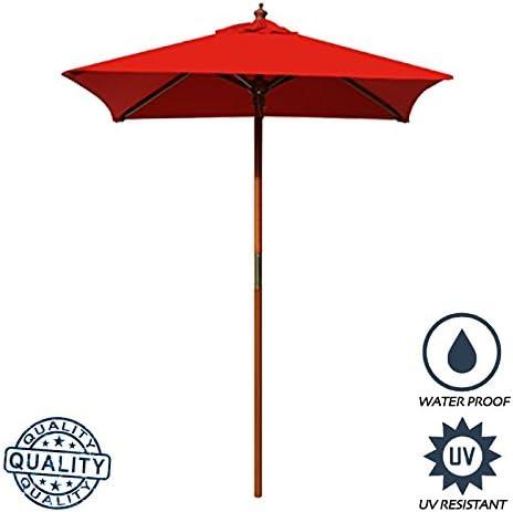 Above All Advertising AAA Best 4 Feet Brolliz Square Wood Market Umbrella – Outdoor Garden Patio Umbrella Red