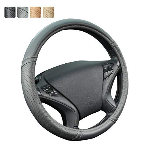 CAR PASS Classical Leather Automotive Universal Steering Wheel Covers,Universal Fit for Suvs,Trucks,Sedans,Cars,Vans(Gray) (Steering Wheel Cover Gray)