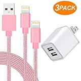 AVIOS Charger, 2.4A Dual Port USB Wall Charger Fast Charging Portable Travel Wall Adapter w/ [2-PACK] 6 Feet/2M Braided Cable Compatible with iPhone X/8/7/6S/6/Plus/5SE/5S, iPad, iPod & More - PINK