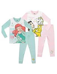 Disney Girls' Ariel and Belle Pajamas 2 Pack