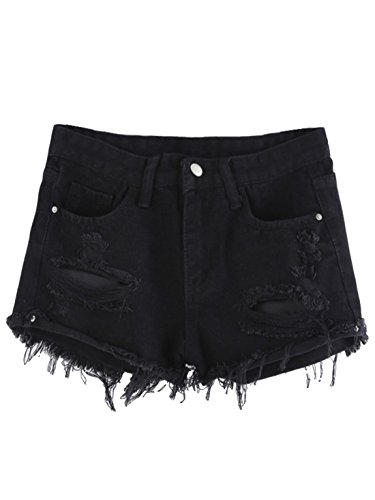 - MAKEMECHIC Women's Frayed Raw Hem Ripped Distressed Denim Shorts Black# S