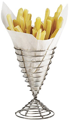 (G.E.T. Enterprises Stainless Steel Stainless Steel Spiral Cone French Fry Holder Stainless Steel Specialty Servingware Collection 4-88068 (Pack of 1))