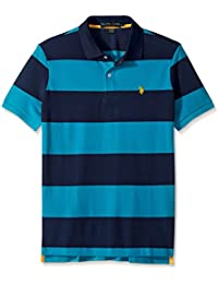 Men's Slim Fit Stripe Short Sleeve Pique Polo Shirt
