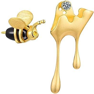 N/N® Pendientes Para Mujer 925 Oro Plata Abeja Y Goteo Miel Pendientes Asimétricos Para Niña Joyería Antialérgica