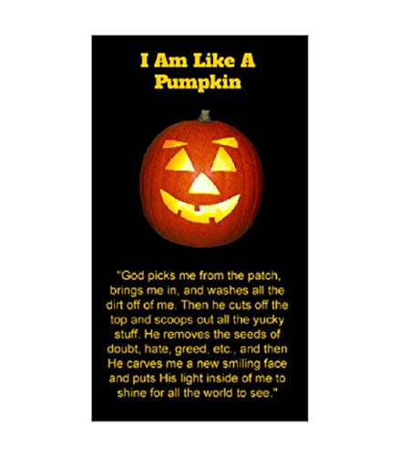 I Am Like a Pumpkin Halloween Pocket Cards, Prayer, Bookmarks, Trunk Or Treat Ideas, 100 Pack, Bulk -