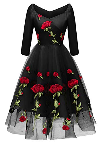 - ANCHOVY Womens 1950s Vintage Rose Embroidered Lace Dress Rockabilly Party Dress C81 (Black, L)