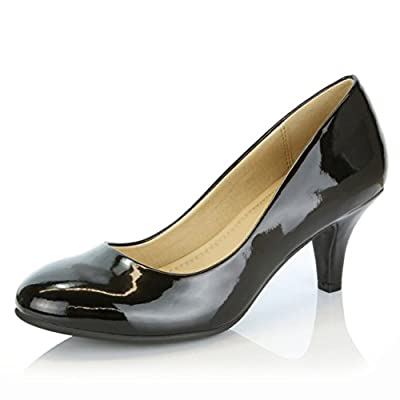 DailyShoes Women's Comfortable Elegant high Cushioned Casual Low Heels Formal Office Lady Round Toe Stiletto Pumps Shoes
