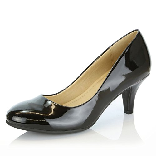 DailyShoes Womens Comfortable Elegant high Cushioned Casual Low Heels Formal Office Lady Round Toe Stiletto Pumps Shoes
