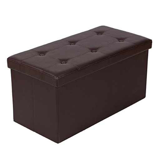 Vencer Faux Leather Folding Storage Ottoman Bench Foot Rest Stool Seat Chest Black 30