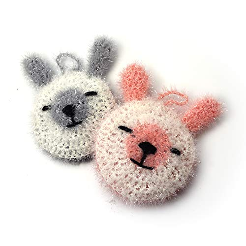 Super Cute Rabbit Dish Scrubber (2 pk) 100% Hand Made Multi-Use Non-Scratch No Mildew Odor Smell Like Sponge or Dishcloths