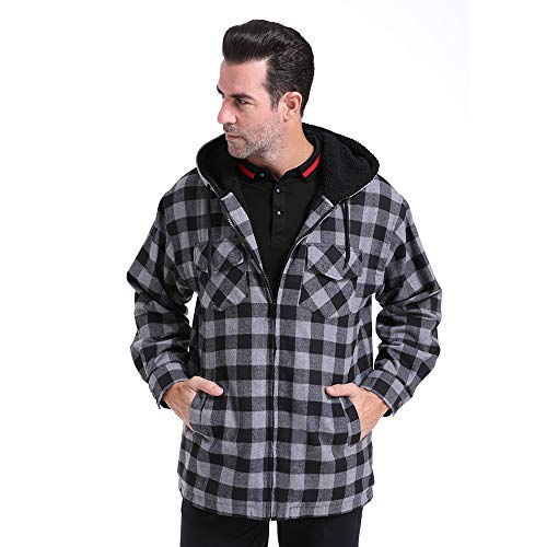 (Men's Casual Plaid Jacket Full Zip-Up Long Sleeve Nice Slim Fit Hoodie Soft Fleece Lined Outdoors Warm Cotton Thick Layer Hooded Coat Overcoat Cold Winter Spring Hiking Camping (Black-Grey, XL))