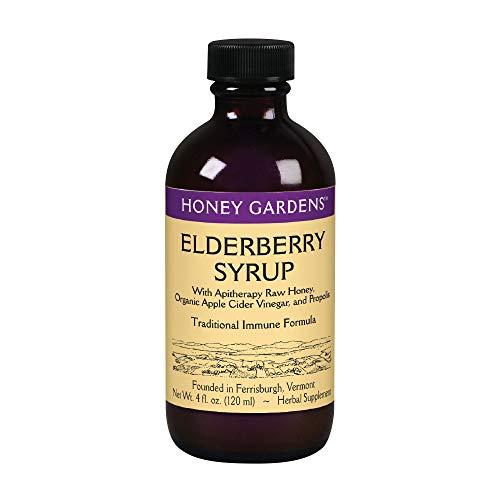 Honey Gardens Elderberry Syrup w/Apitherapy Raw Honey, Propolis & Elderberries | Immune Formula | 48 Serv | 4 fl. oz. (Honey Gardens Wild Cherry Bark)