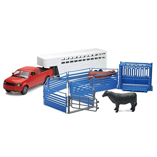(1/18 Ranch Pickup Truck with Cattle Trailer, Squeeze Chute & Cow by New Ray)
