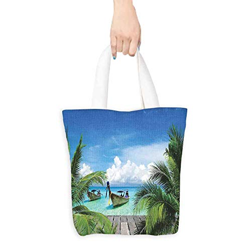 - Tropical Decor Tote Bag Beach and Tropical Sea Wooden Deck Floating Boats Sunshine Honeypot Large Capacity 16.5