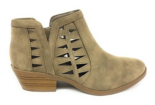 Soda Women's Perforated Cut Out Stacked Block Heel Ankle Booties Dist Light Taupe 9 B(M) US