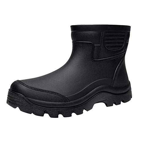 Haforever Men Short Tube Non-Slip Waterproof Shoes Rain Boots Fashion Shoes Fishing Shoes Outdoor Shoes