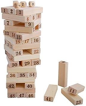 Homiki - Juego de Torre de Madera apilable de Jenga, 48 Bloques de 4 Dados, Juego de Torre: Amazon.es: Electrónica