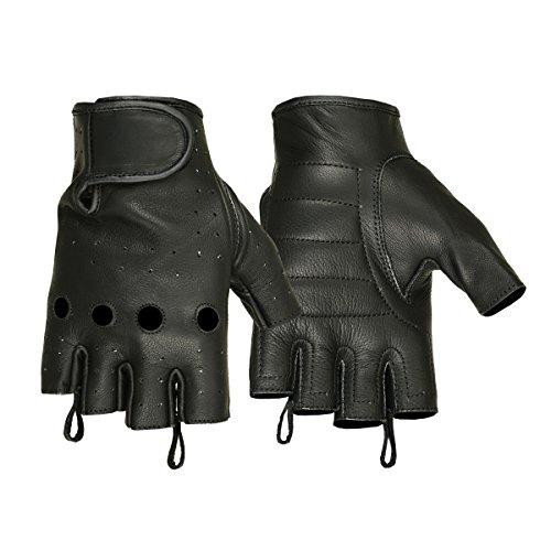 Men's Deerskin Perforated Fingerless Glove (X-Large, Black) (Perforated Fingerless Gloves)