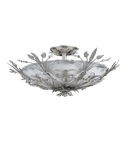 - Semi Flush Mounts 6 Light With Silver Leaf Faceted Crystal Beads Wrought Iron 20 inch 240 Watts - World of Lighting