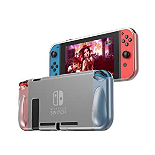 TPU Protective Case Compatible with Nintendo Switch PHOCAR Dockable Nintendo Switch Grip Cover TPU Protective Hard Case for Nintendo Switch Console and Joy-Con Controller - Clear