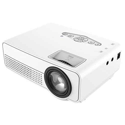 CJB18 Mini Projector 1080P 1800 Lumen Portable LCD LED Projector Home Theater USB HDMI, for Home Entertainment, Party and Games,White -