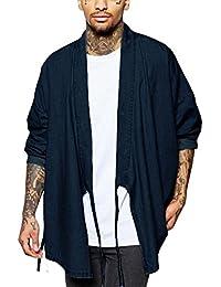 Men's Oversized Cardigan Cloak Long Sleeve Kimono Retro Casual Denim Lightweight Open Front Drape Cape