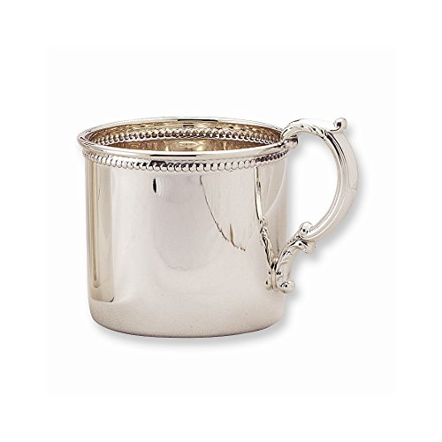 925 Sterling Silver Handle Beaded Edge Baby Cup Fine Jewelry Gifts For Women For Her