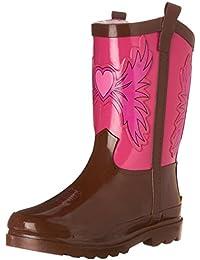Girls Waterproof Printed Rain Boot with Easy Pull on Handles