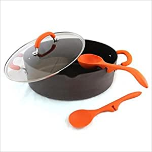 Rachael Ray RRHASTOCK-A 4-Pc 8QT Pasta Pot, Lazy cucharas - Disco Anodized- Orange