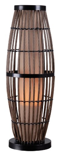 (Kenroy Home 32247RAT Biscayne Outdoor Table Lamp, Rattan Finish with Bronze Accents, 5
