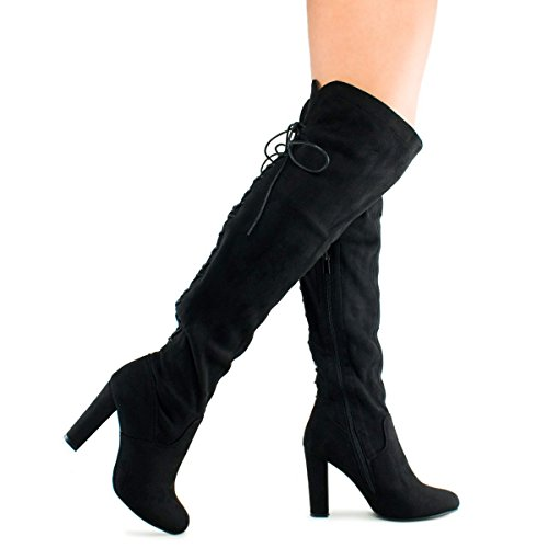 Black High Boots (Premier Standard - Women's Thigh High Stretch Boot - Trendy High Heel Shoe - Sexy Over The Knee Pullon Boot - Comfortable Easy Heel , TPS Zola-22 Black Size 10)