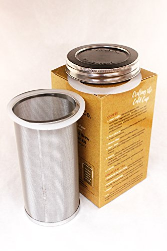T&Co. STAMPED Cold Brew System for Mason Jars with STOUT filter, SS lid, gaskets, instructions ...