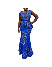 VERWIN African Dress Cap Sleeve Square Neck Floor-Length Geometric Maxi Dress