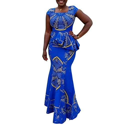 VERWIN African Dress Cap Sleeve Square Neck Floor-Length Geometric Mermaid Maxi Dress Long Dress XL Blue