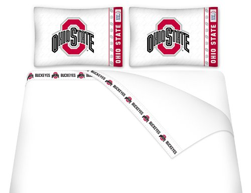 Ohio State Buckeyes Queen Size Sheet Set (1 Flat Sheet, 1 Fitted Sheet, 2 Pillow Cases) NEW DESIGN WITH PRINTED FLAT SHEET HEMS!